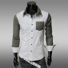free shipping Slim Long Sleeve Two Tone Cotton Buttons Lapel Men Casual Shirt(China (Mainland))