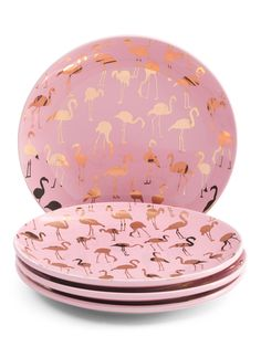 4pc Multi Glitz Flamingo App Plates
