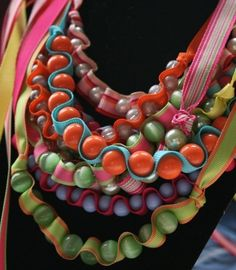 bead and ribbon necklaces for children and adults tutorial - crafts ideas - crafts for kids