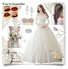 """Wedding Dress"" by kp03411 ❤ liked on Polyvore featuring Allurez, Jimmy Choo, Wrapped In Love and Kate Spade"
