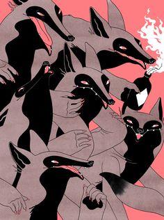 Eero Lampinen (based Helsinki, Finland) - Wolves (Illustration for a quiz, Torso magazine), 2014 Mixed Media Illustrations Pop, Art Et Illustration, Creative Illustration, Character Illustration, You Draw, Art Graphique, Oeuvre D'art, Art Inspo, Fantasy Art