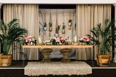 Tropical boho sweetheart table