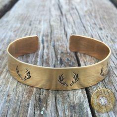 Antler Stamped Bangle Bracelet Copper, Brass, Aluminum