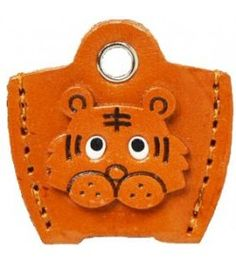 Leather Key Cover Cap Keychain Tiger