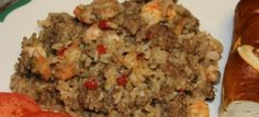 Oven Crawfish Rice Dressing Casserole- can use shrimp or crawfish or a combo