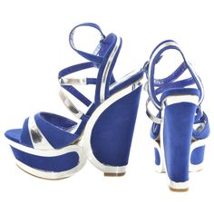 Blue and Silver Two Tone Wedges | Sexyback Boutique