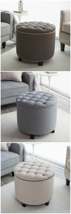 Tufted ottomans.