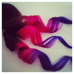 EXTREME OMBRE // Pink and Purple // clip in extensions // AAA grade ($170) ❤ liked on Polyvore