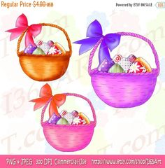 This set contains 3 Easter Basket Clipart Graphics. They come in 3 different styles as shown in the preview photo. Great for Easter parties, scrapbooking and more.  They were hand drawn and digitally colored by myself.  You will receive a download containing 1 zip folder file which consist of 6 files in all:  -3 images Transparent background 300 DPI PNG (8 x 8 inches) -3 images blank white background 300 DPI JPEG (8 x 8 inches)  They are very easy to adjust and use for all purposes. May be…
