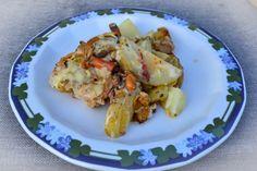 Granmatriske har blitt favorittsoppen min, så gleden var stor idag når jeg fant flotte unge eksem... Potato Salad, Cauliflower, Shrimp, Potatoes, Meat, Vegetables, Ethnic Recipes, Food, Blogging