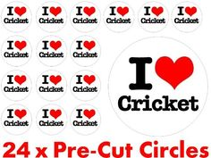 24 X 38Mm Pre Cut Circle I Love Cricket Balls Ball Fairy Muffin Cup Cake Toppers Decoration Edible Rice Wafer Paper