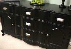 How to Re-paint Furniture in Glossy Black (pretty much, use Benjamin Moore Metal and Wood paint!)