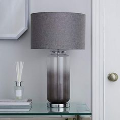 Hotel Large Ombre Glass Table Lamp | Dunelm Cherry Blossom Pictures, Large Glass Jars, Grey Table Lamps, Grey Cushions, Gray Bedroom, Glass Table, Cleaning Wipes, Bulb, Modern