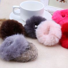 2017 Fashion Fluffy Faux Fur Furry Scrunchie Elastic Hair Ring Rope Band  Tie HO in Clothing b2f2bbff4c1e