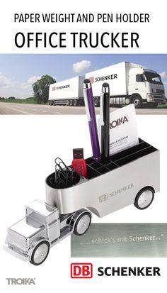 TROIKA OFFICE TRUCKER - DB SCHENKER engraving. Truck paper weight and pen holder *** LKW Briefbeschwerer und Stifteköcher