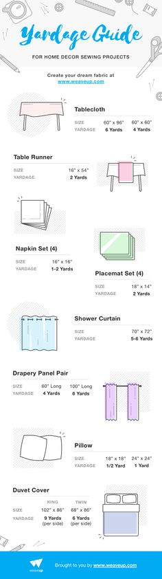 Based on standard product dimensions, we whipped up this helpful yardage guide to get you started.  Each yardage calculation accounts for 2-4 inches of seam allowance and 2-4 inches of hem allowance (except for napkins, but we'll get