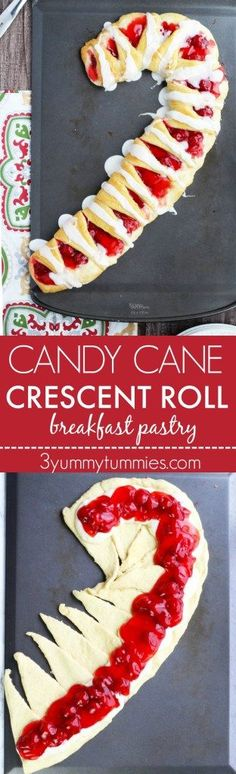 This easy Christmas pastry is made with crescent rolls and has a decadent cherry cream cheese filling.  Perfect for brunch or dessert! #candycanepastry #candycane #candycanecrescentroll #christmasbrunch #christmasdessert