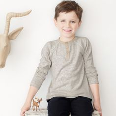 Contrast Henley Long Sleeve T-Shirt | The White Company