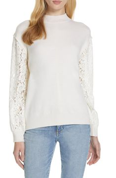 A soft, wool-blend sweater with a fine ribbed knit features lacy blouson sleeves, making this winter-white style a perfect transition piece. Clu, White Style, Winter White, Wool Blend, Knitwear, Bell Sleeve Top, Nordstrom, Tunic Tops, Clothes For Women