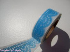 Japanese Washi Tape Roll in Blue Lace Print by WashiWishes on Etsy