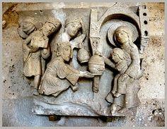 "Gisleburtus-""The Adoration of the Magi"" Autun Cathedral. Romanesque Sculpture, Romanesque Art, Romanesque Architecture, Renaissance Image, French Cathedrals, Art Roman, Carolingian, Stone Masonry, Three Wise Men"