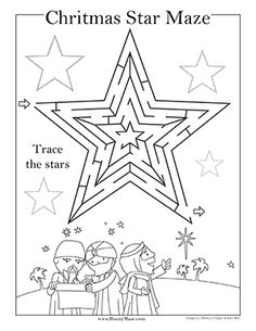 Star of Bethlehem, Wise Men Christmas Maze Printables - Brainy Maze Christmas Sunday School Lessons, Sunday School Activities, Church Activities, Sunday School Crafts, Christmas Maze, Christmas Bible, Kids Christmas, Christmas Worksheets, Free Christmas Printables