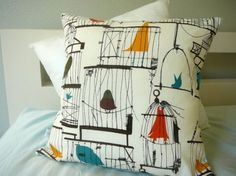 50s Birdcage Pillow Cover by OliveHandmade on Etsy modern pillows