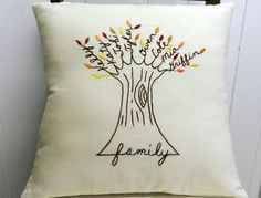 Personalized Family Tree Pillow Cover. AUTUMN Fall Shade Leaves. Wedding Anniversary. Mother-In-law.