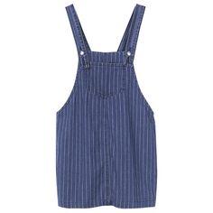 Women Strap Pocket Stripe Denim Mini Dress ($28) ❤ liked on Polyvore featuring dresses, newchic, blue, short sleeve dress, blue denim dress, long-sleeve mini dress, blue mini dress and blue summer dress