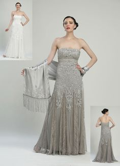 c81eeaed8ef Sue Wong Platinum Strapless Gown Pleated Godet Skirt - Unique Vintage -  Prom dresses
