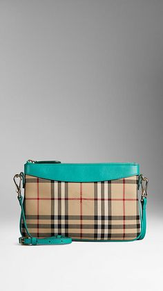 Burberry Aqua Green Horseferry Check and Leather Clutch Bag - Clutch bag in jacquard-woven Horseferry check with a smooth leather trim.  Zip closure, detachable leather strap.  Discover the women's bags collection at Burberry.com