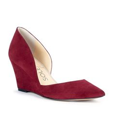 This versatile crimson suede wedge would be a great addition to your office wardrobe!