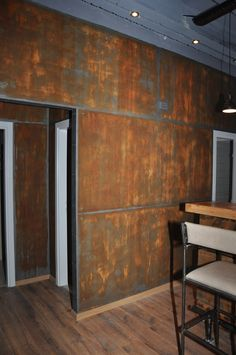 rusted metal faux paint on walls Metal Wall Panel, Metal Walls, Metal Sheet Design, Faux Brick Walls, Faux Painted Walls, Interior Walls, Interior Design, Loft Industrial, Metal Facade