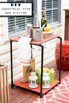 DIY Industrial pipe bar station - picturing this with a cover to house the outside cushions/pillows for the deck. Deck With Pergola, Diy Pergola, Pergola Kits, Patio Roof, Pergola Ideas, Backyard Ideas, Diy Projects To Try, Home Projects, Furniture Projects