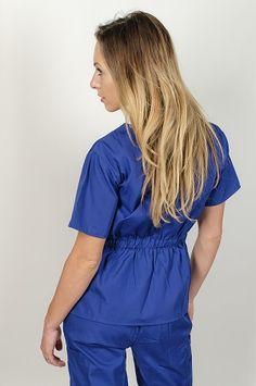Contrast Scallop Scrub Set in Blue,fashion neckline and 2 pocket top and 3 pocket pants at www.smileyscrubs.com #bluescrubs #bluescrubsets #discountscrubs #lowpricescrubs Discount Scrubs, Cheap Scrubs, Scrub Sets, Blue Fashion, Contrast, Neckline, Ruffle Blouse, Pocket, Pants