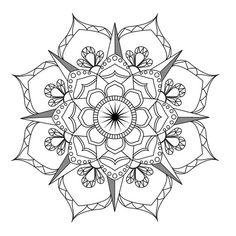 Flower Mandala-Coloring page-Adult coloring-art-therapy-pdf including
