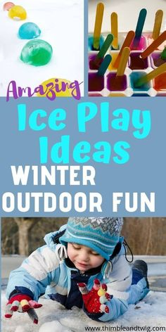 Ice Scavenger Hunt: Outdoor Fun for Kids! - Thimble and Twig. Fun Outdoor winter ideas for kids to help them get outside during Winter. Ice treasure hunts and ice scavenger hunts and ideas for ice play for kids. Forest School Activities, Nature Activities, Sensory Activities, Craft Activities For Kids, Infant Activities, Free Activities, Preschool Crafts, Kids Crafts, Craft Ideas