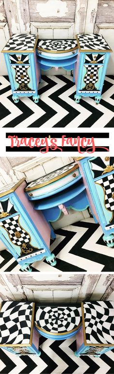 Alice in Wonderland Vanity - Baby Blue Painted Vanity with black and white patterns| Rabbit Hole Furniture | Bold Painted Furniture & Furniture Painting tips by Tracey's Fancy