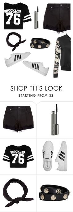 """Outfit for a night walk in park. #black #adidas #headband #shorts #bomper #army"" by alemicuta ❤ liked on Polyvore featuring rag & bone, MAC Cosmetics, Boohoo, adidas, Versace and WearAll"