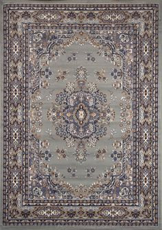 TRADITIONAL PERSIAN SILVER AREA RUG BORDER ORIENTAL MULTI-COLOR CARPET #RegencyRugs #TraditionalPersianOriental