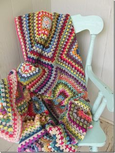 A lovely granny blanket by Cozy Things. Twelve twenty-round granny squares made one gorgeous blanket. No pattern (the classic granny is free at tons of sites - just to inspire). Note: just to ogle lol xox