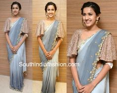 Niharika Konidela attended the Pre-release event of Happy Wedding wearing a grey embroidered saree paired with embellished cape sleeves blouse. She finished off her look with a pair of statement earrings and an updo. Saree Jacket Designs, Netted Blouse Designs, Saree Blouse Neck Designs, Fancy Blouse Designs, Blouse Designs Catalogue, Sleeves Designs For Dresses, Stylish Blouse Design, Designer Blouse Patterns, Saree Look