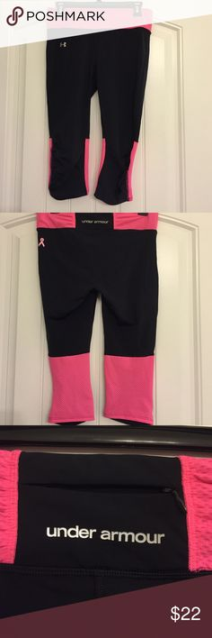 UA workout pants Breast cancer UA pants. Also have a key pocket on the back Under Armour Pants