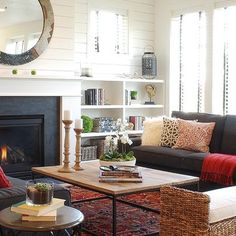 Eclectic living room.  Neutrals with pops of color.  from Houzz