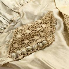 1930s Wedding Dress Cream Satin Bias Cut with Lace Wax by HeyViv