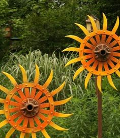 recycled farm cultivator disk Sunflower art at Eclectic Arts
