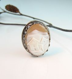 Victorian Style Carved  Shell Cameo Pin Pendant Sterling with European Landscape Mountain Village via Etsy