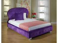 Accent your child's bedroom with this bed. Made with a fun balloon-shaped headboard and deep tufting with sparkling jeweled buttons, this piece adds depth and eye-catching style. This bed is constructed of engineered wood products, and includes a sturdy Euro slat system, so you won't need to purchase a box spring. Available in watermelon, white, purple, or black faux-fur upholstery, your child will feel a sense of pride and excitement as she chooses her favorite color.