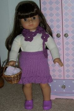 "Straight Skirt by GrandmaKnits, via Flickr    Pattern to fit 18"" dolls is free on www.ravelry.com. It's the Straight Skirt for an 18"" Doll."