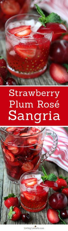 Fresh Strawberry Plum Rose Sangria. A perfect refreshing party cocktail recipe with pink wine! LivingLocurto.com